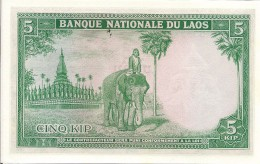 Laos P9b, 5 Kip, King Sisavang Vong / GREAT Elephant, 1962 UNC - Laos