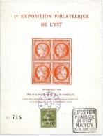 LBL38/4 - CAISSE D'AMORTISSEMENT 40c SUR FEUILLET EXPOSITION PHILATÉLIQUE DE L'EST NANCY JANVIER 1932 - Expositions Philatéliques