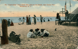 """US WILDWOOD / No """"mud-cakes"""" From These Little Girls On The Beach, Near Ocean Pier / CARTE COULEUR GLACEE - Etats-Unis"""