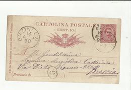 102833 CARTOLINA POSTALE DA 10 CENT SPEDITA DA ORZINUOVI IL 13 AGO 1890 - 1878-00 Umberto I