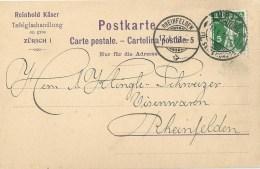 """Motiv Karte  """"Käser, Tafelglas Handlung, Zürich"""" - Rheinfelden              1913 - Suisse"""
