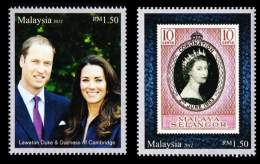 Malaysia The Diamond Jubilee Of Queen Elizabeth IIRoyal Visit 2012 William And Kate (stamp) MNH - Malaysia (1964-...)