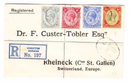 Jamaica Kingston 1913 R-Brief Via London Nach Rheineck AK-Stempel 7.12.1913 Mit 3 Marken Jamaica Und 1 Sta Lucia - Jamaïque (...-1961)