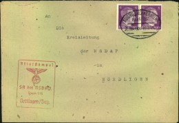 1941, SA Der NSDAP Sturm 1/15 Oettingen/Bay. An Kreisleitung In Nördlingen, Bahnpost - Geschichte