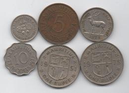 Maurice Mauritius : Lot De 6 Pièces 1951-1975 : Roi George VI & Reine QEII - Mauritius