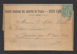 DD / FRANCE SUR LETTRE DES ACIÉRIES DE FRANCE A AUBIN/ TP 75  SAGE TYPE II / OBL. AUBIN 2 SEPT 97 AVEYRON + 3 CACHETS - 1876-1898 Sage (Type II)