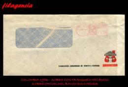 AMERICA. COLOMBIA. ENTEROS POSTALES. SOBRE CIRCULADO OFICIAL 1976. BANCO DAVIVIENDA. FRANQUEO MECÁNICO - Colombia