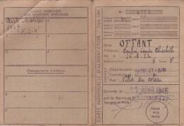 CARTE INDIVIDUELLE D'ALIMENTATION BOURBON LANCY 1945 + DENREES DIVERSES - Documents Historiques
