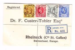 Antigua St John's 13.11.1913 Leeward Island 4 Farben Frankatur R-Brief Nach Rheineck SG - Antigua & Barbuda (...-1981)