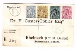 St Vincent 22.11.1913 Kingstown 4 Farben Frankatur R-Brief Nach Rheineck SG - St.Vincent (...-1979)