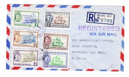 British Honduras Belize 19.2.1949 Flugpost R-Brief Nach New-York USA - Honduras Britannique (...-1970)