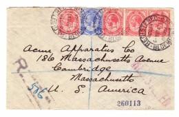 Südafrika 6.3.1924 Bloemfontein R-Brief Nach Cambridge MA USA - Lettres & Documents