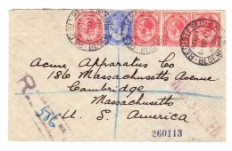 Südafrika 6.3.1924 Bloemfontein R-Brief Nach Cambridge MA USA - Südafrika (...-1961)