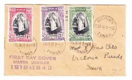 Tonga 25.1.1944 Nukualofa FDC Brief Nach Suva - Tonga (...-1970)