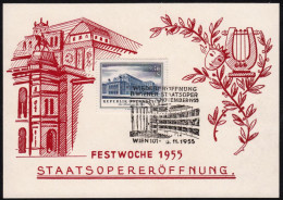 """Austria 1955, Illustrated Cover """"Reopening Of The Vienna State Opera""""  W./special Postmark """"Wien"""", Ref.bbzg - 1945-60 Storia Postale"""
