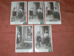 LA CIGALE ET LA FOURMI   1910  LOT STYLE  SCENETTE  SERIE 5 CPA HUMOUR ENFANTS    EDIT CIRC OUI - Children