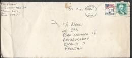 USA Airmail 1985 22-cent Flag Over Capitol, Paul Revere 25c Postal History Cover Sent To Pakistan. - Brieven En Documenten