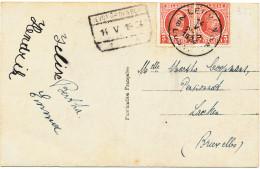 434/24 - Carte Fantaisie TP Houyoux LEUVEN 1924 - RARE - Cachet De Gare HEYST OP DEN BERG En Griffe D'Origine - 1922-1927 Houyoux