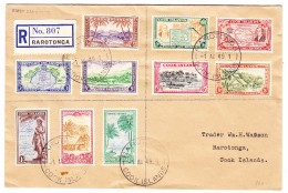 Cook Islands 1.8.1949 Rarotonga FDC R-Ortsbrief - Cook