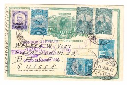 Brasilien Recife 16.9.1932 Ganzsache 100 Reis Und Zusatzfrankatur Mit Condor-Zeppelin Nach Basel - Lettres & Documents