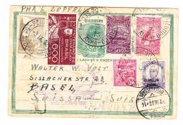 Brasilien Pernambuco Ganzsache 100 Reis Und Zusatzfrankatur Mit Condor-Zeppelin Nach Basel - Lettres & Documents