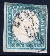 Antichi Stati Regno Di SARDEGNA 1855 1863 C.20 Indaco Annullato Sassone N° 15E 6 - Sardegna