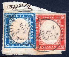 Antichi Stati Regno Di SARDEGNA 1855 1863 C,. 20 + C.40 Su Frammento - Sardaigne