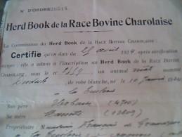 Vieux Papiers  Document Comercial Certificat  Her Book De La Race Bovine Charolaise Annee 1924 Thuilliere - Agriculture