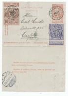 455/24 - Carte-Lettre Fine Barbe + TP Expo Bruxelles 1897 - BLANKENBERGHE 1897 Vers CREFELD Allemagne - Letter-Cards