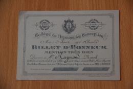 BEZIERS - Collège De L'IMMACULEE CONCEPTION - PIC, BILLET D'HONNEUR MENTION TRES BIEN - Diplômes & Bulletins Scolaires