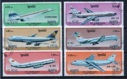 Kampuchea Short Set Of Fine Used Stamps On Planes. - Kampuchea