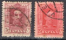 2 Sellos Alfonso XIII Vaquer, Fechador VIELLA (Lerida),  Edifil Num 311 - 317 º - Usados