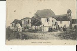 Conchez  64   La Place De L'Hotel De Ville Bien Animée Et L'Eglise - France