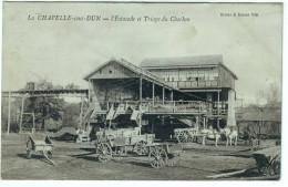 La Chapelle Sous Dun (71): Ll'estacade Et Le Triage Du Charbon. Attelages. - Otros Municipios