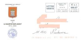EMA ML 087956 Hérault Sur Enveloppe Illustrée Mairie De La Salvetat Sur Agout - Blason Château Schloss Castle - Covers