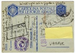 POSTA MILITARE IN FRANCHIGIA - CARTOLINA POSTALE PER LE FORZE ARMATE - 1943 - War 1939-45