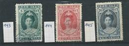 Nederlands - Indië        Y / T      143 + 144 + 145       (O) - Nederlands-Indië