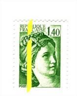 Sabine 1.40fr Vert YT 2154 Avec Phosphore à Cheval Et Au Centre Gauche . Pas Coté Mais Superbe Et Rare , Voir Le Scan . - Variétés: 1980-89 Neufs