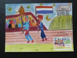 Carte Maximum Card Dessin D'enfant Children Paintings Jeux Olympiques Athenes Olympic Games Luxembourg 2004 - Estate 2004: Atene