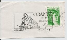 FRANCE. POSTMARK. FRAGMENT. ORANGE. 1981 - Marcofilia (sobres)