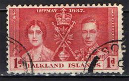 FALKLAND - 1937 - INCORONAZIONE DEL RE GIORGIO VI - USATO - Falkland