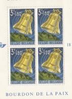 E)1963 BELGIUM, PEACE BELL RINGING OVER GLOBE, SOUVENIR SHEET, MNH - Belgium