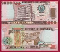 Mozambique P-138, 50,000 Meticais, Bank Bldg / Cahara Dam, UNC See UV, $8CV - Mozambique