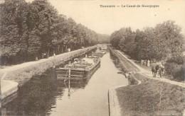 Cpa   -   Tonnerre  - Le Canal De Bourgogne   ,animée ,péniche ,chevaux      T141 - Tonnerre