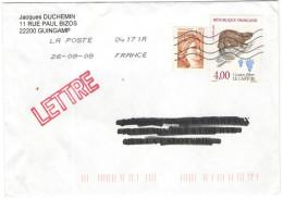 FRANCIA - France - 2008 - Lettre - 1,80 F Sabine De Gandon + Castor Fiber, Le Castor - Viaggiata Da 04171A Per La Cal... - Francia