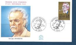 Env Fdc 16/6/90 Sète ,N°2654, La Chanson Française, Georges Brassens - 1990-1999