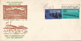J) 1968 MEXICO, OLYMPIC GAMES, MEXICO 68, SPORTS, ATHENS GREECE, SPORTS PALACE,  PRE OLYMPICS, SAILING SHIP, ROWING   WY - Messico