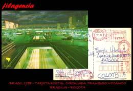AMERICA. BRASIL. ENTEROS POSTALES. TARJETA POSTAL CIRCULADA 1988. BRASILIA-BOGOTÁ. FRANQUEO MECÁNICO - Altri