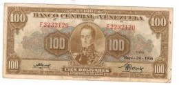 Venezuela 100 Bs. 1956, VF , See Scan. RARE. - Venezuela