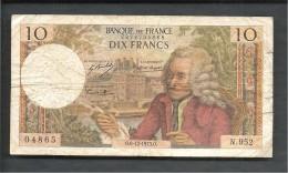 10f Voltairre  0.6-12-1973.0.  N 952 - 1962-1997 ''Francs''